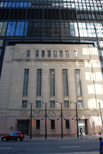 The modern Ernst & Young Tower was built over and around the old Toronto Stock Exchange Building