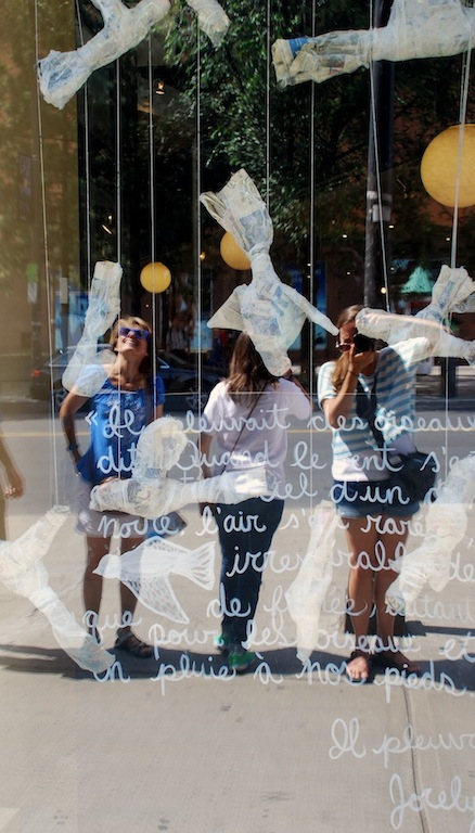 Paper birds in window display
