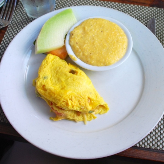 Poogan's Porch, Grilled Veggie Omelette with Cheese Grits