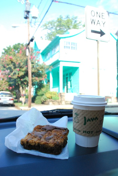 Gluten-free peanut butter brownie and coffee, courtesy of...